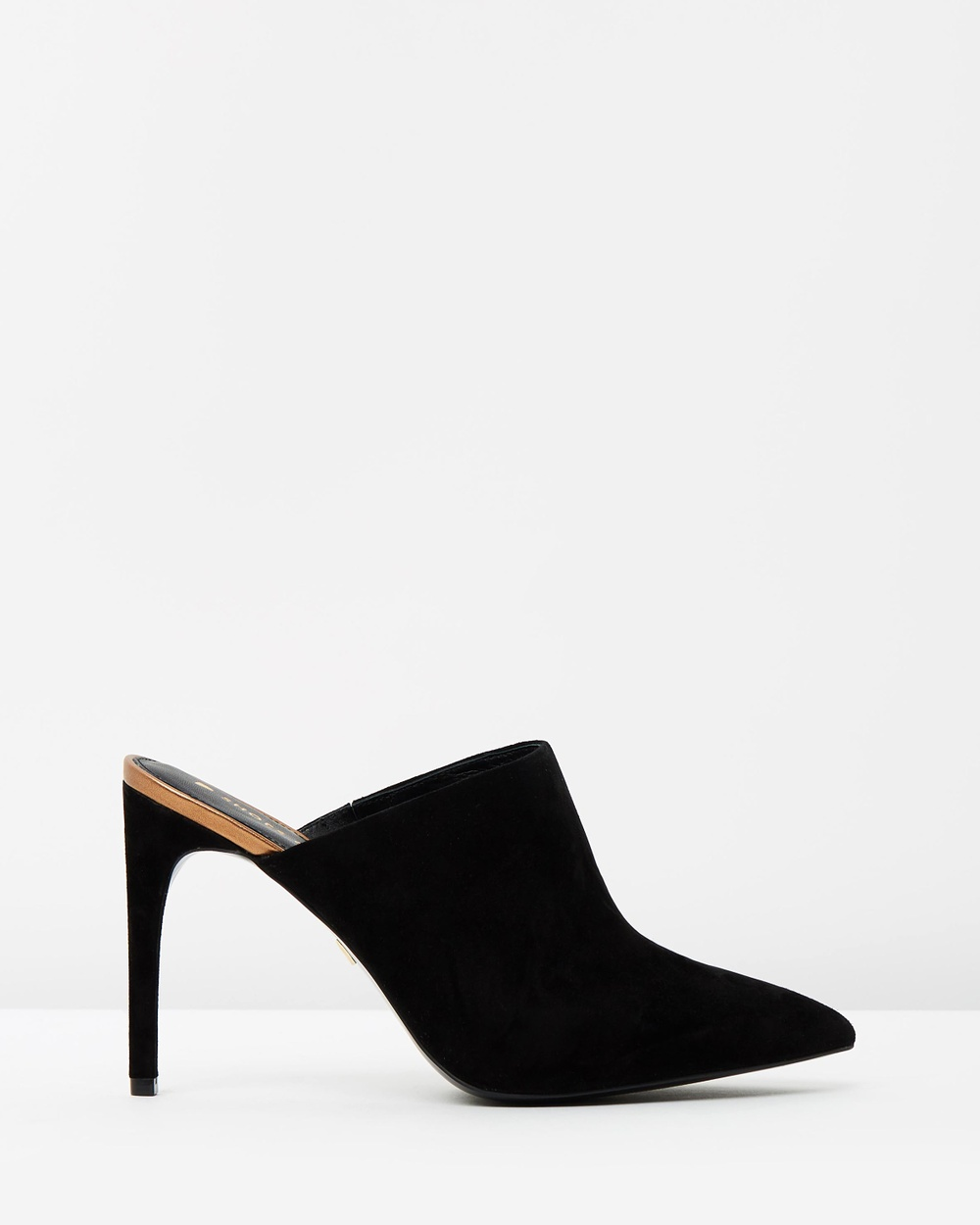Shoes of Prey ICONIC EXCLUSIVE Alesia Leather Mules Heels Black Suede ICONIC EXCLUSIVE Alesia Leather Mules
