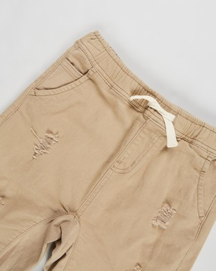 Free by Cotton On Street Slouch Shorts Teens Chino Washed Stone