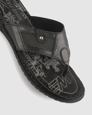 Airflex Arrow Mixed Textile Sandals - All thongs (Black)