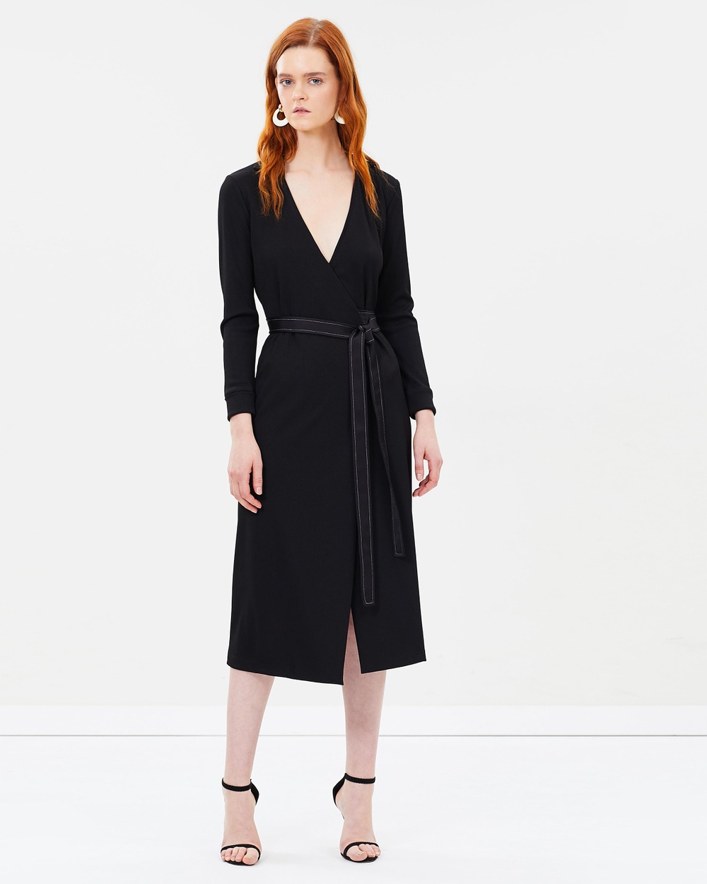 Christopher Esber Belted Wrap Dress Dresses Black Belted Wrap Dress