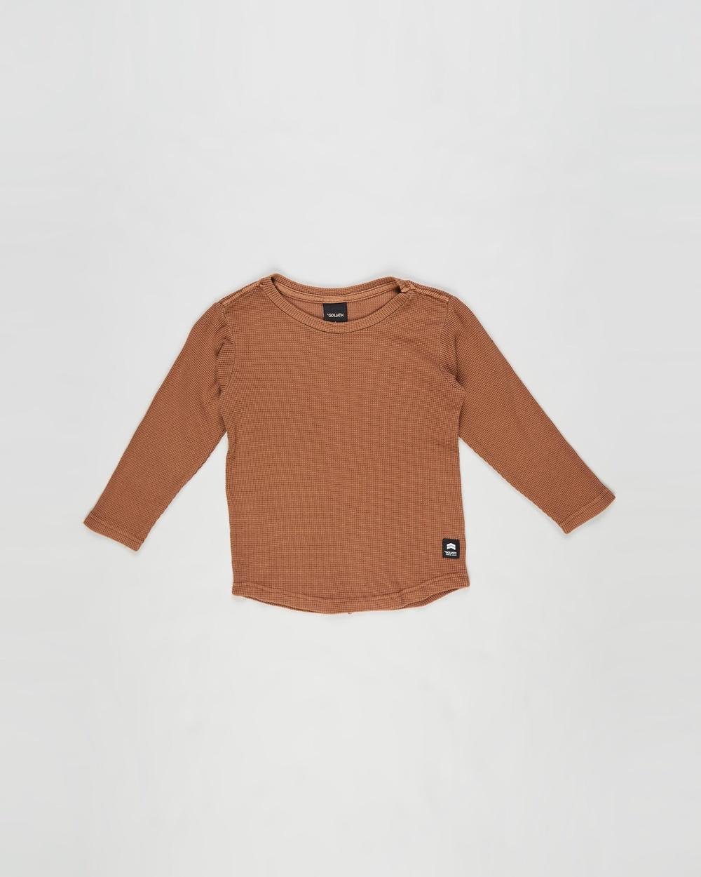 St Goliath - Long Sleeve Waffle Tee   Kids - T-Shirts & Singlets (Rust) Long Sleeve Waffle Tee - Kids