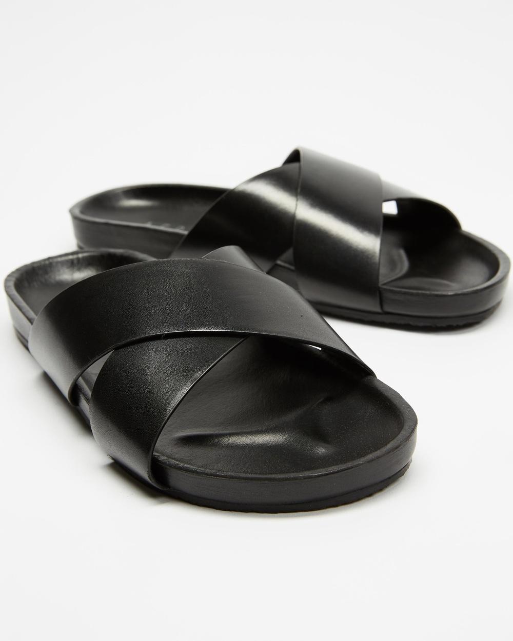 AERE Brunswick Leather Slides Shoes Black