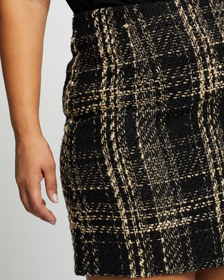 Atmos&Here Curvy Lilly Boucle Check Skirt Skirts Neutral Cream