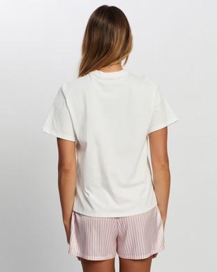 Atmos&Here Pyjamas All Day Tee Sleepwear White Pink Text