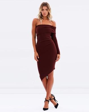 Bec & Bridge – Love Ruler Asymmetrical Dress – Bodycon Dresses (Deep Rouge)