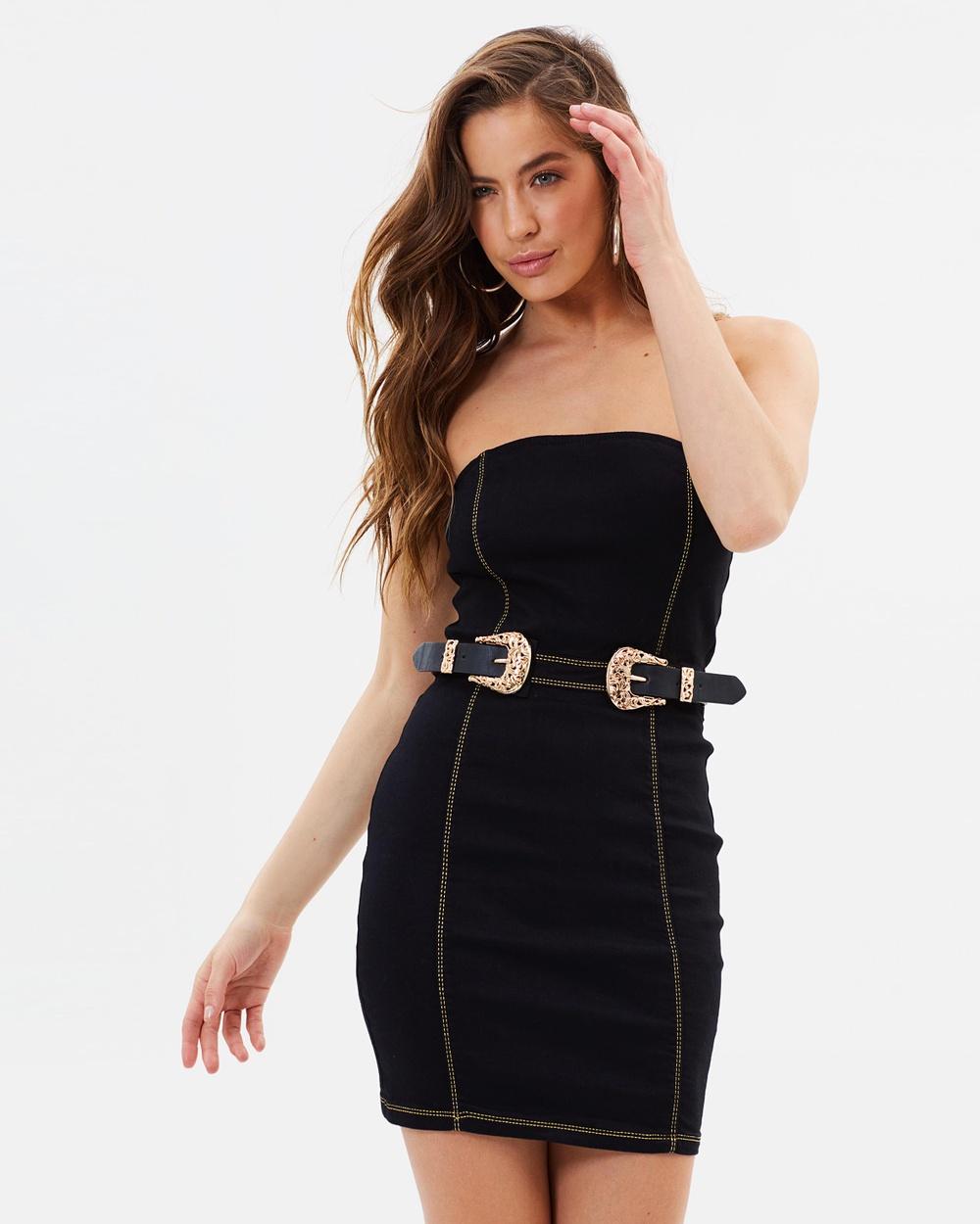 Missguided Strapless Buckle Detail Denim Dress Bodycon Dresses Black Strapless Buckle Detail Denim Dress
