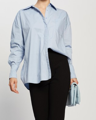 Dazie Not Your Boyfriend's Oversized Shirt - Tops (Blue)