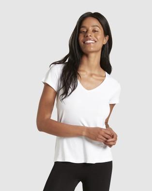 Boody Organic Bamboo Eco Wear 2 Pack V Neck T Shirt - T-Shirts & Singlets (White)