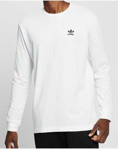 Adidas Originals Back + Front Print Trefoil Long Sleeve Tee White & Black