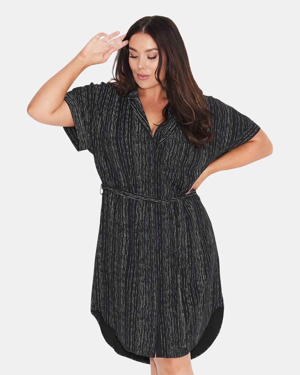 17 Sundays Multi Line Print Shirt Dress