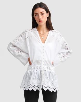 Belle & Bloom Unbutton Me Eyelet Button Down Shirt - Tops (White)