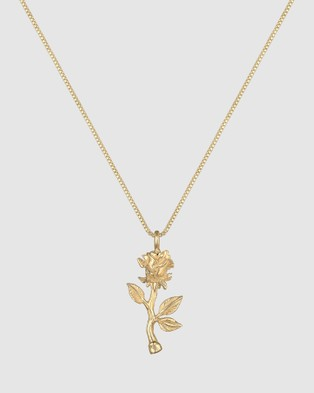 Elli Jewelry Necklace Box Chain Rose Pendant in 925 Sterling Silver Gold Plated - Jewellery (Gold)