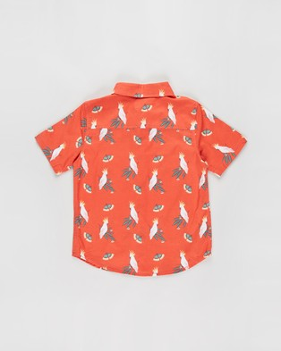 Free by Cotton On Resort Short Sleeve Shirt   Teens - Casual shirts (Cockatoo Gumnut, Red & Orange)