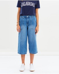 Missguided - Cropped Utility Pocket Wide Leg Jeans