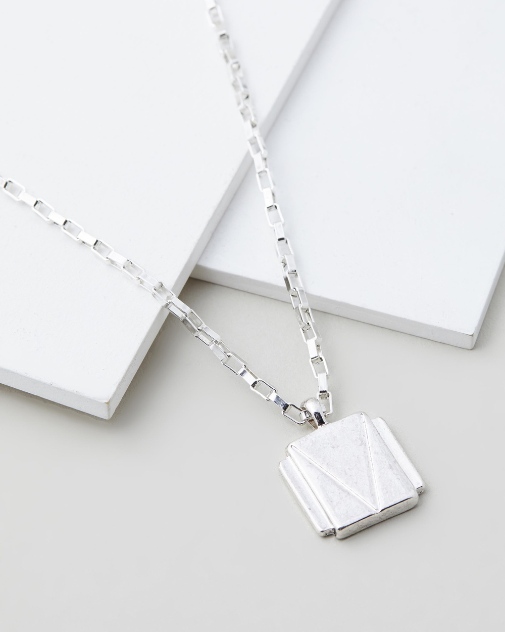 Icon Brand Deco Nuance Rectangle Cast Necklace Jewellery Silver