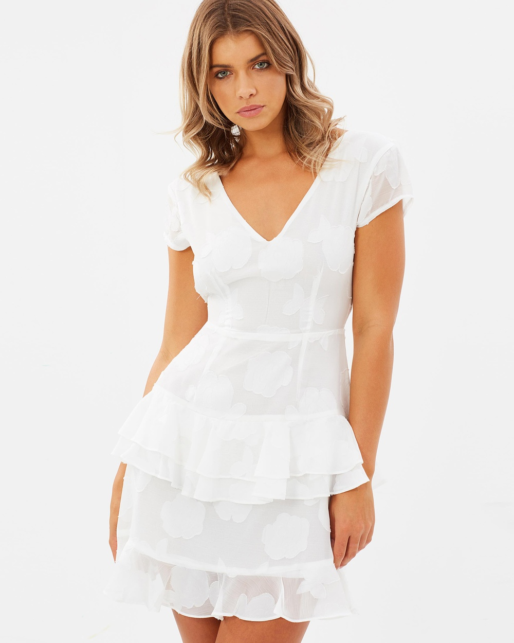 Atmos & Here ICONIC EXCLUSIVE Brea Frill Mini Dress Dresses White ICONIC EXCLUSIVE Brea Frill Mini Dress