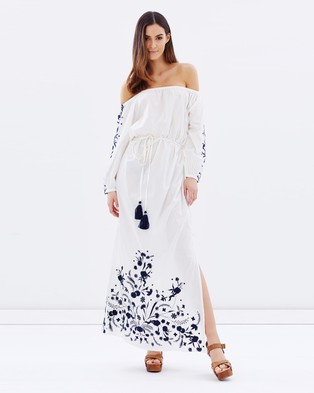 Pampelone – Grimaud Maxi Dress White & Blue