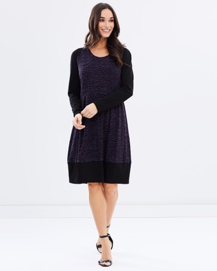 Privilege – Long Sleeve Dress Purple & Black