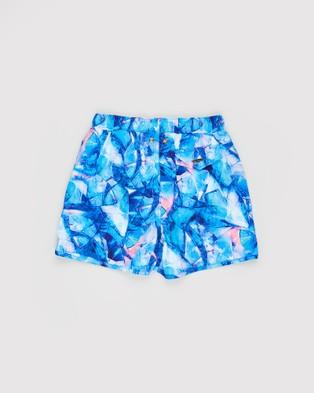 Aqua Blu Kids Paradigm Retro Boardshorts Teens Shorts Blue