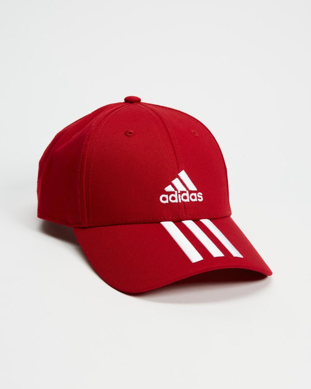 adidas Performance Baseball 3 Stripes Twill Training Cap Headwear Team Victory Red & White 3-Stripes