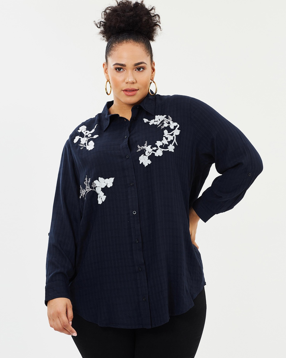 Photo of EVANS EVANS Flower Embroidered Check Shirt Tops Navy Flower Embroidered Check Shirt - For fashion that flatters and celebrates your curves, look no further than EVANS. With a range of on-trend dresses, chic office-ready separates and weekend staples designed with the fuller figure in mind, EVANS is the perfect addition to any style-savvy wardrobe. Our model is wearing a size UK 18 top. She is 179.1cm (5'10.5