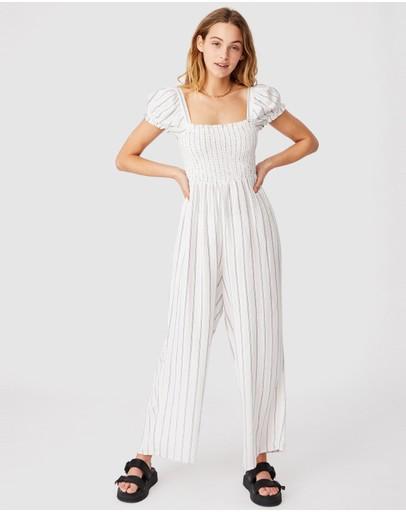 Cotton On Woven Sasha Shirred Jumpsuit Chalk White & Navy
