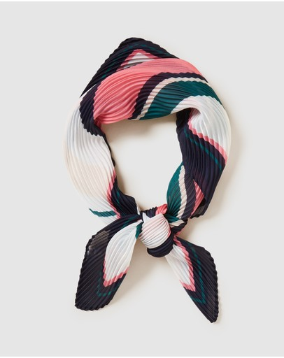 French Connection - Stripe Pleated Scarf