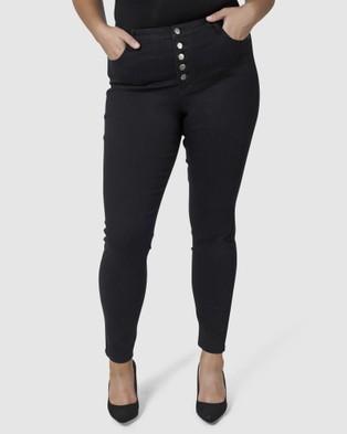 Indigo Tonic Foxy Button Skinny Jeans - High-Waisted (BLACK)
