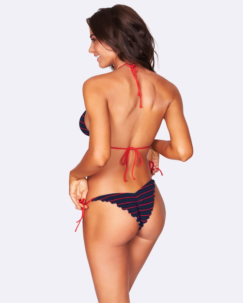 Bond-Eye Swimwear Ginger Tie Side Terry Briefs Bikini Bottoms Navy/Red Ginger Tie Side Terry Briefs