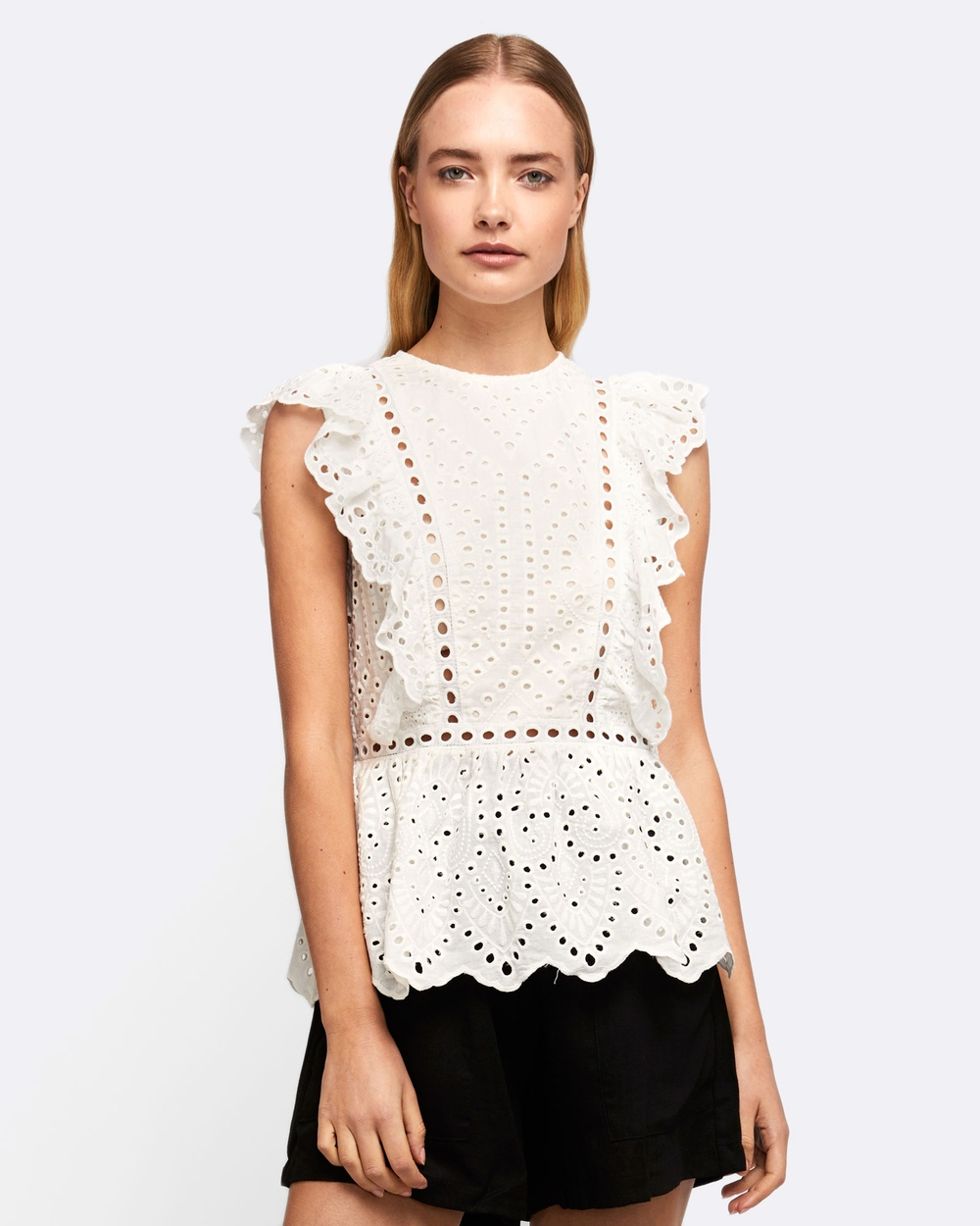 MVN Ciao Bella Lace Top Tops White Ciao Bella Lace Top
