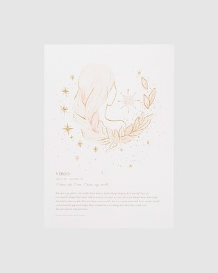By Charlotte Virgo Zodiac A4 Unframed Print - Home (White)
