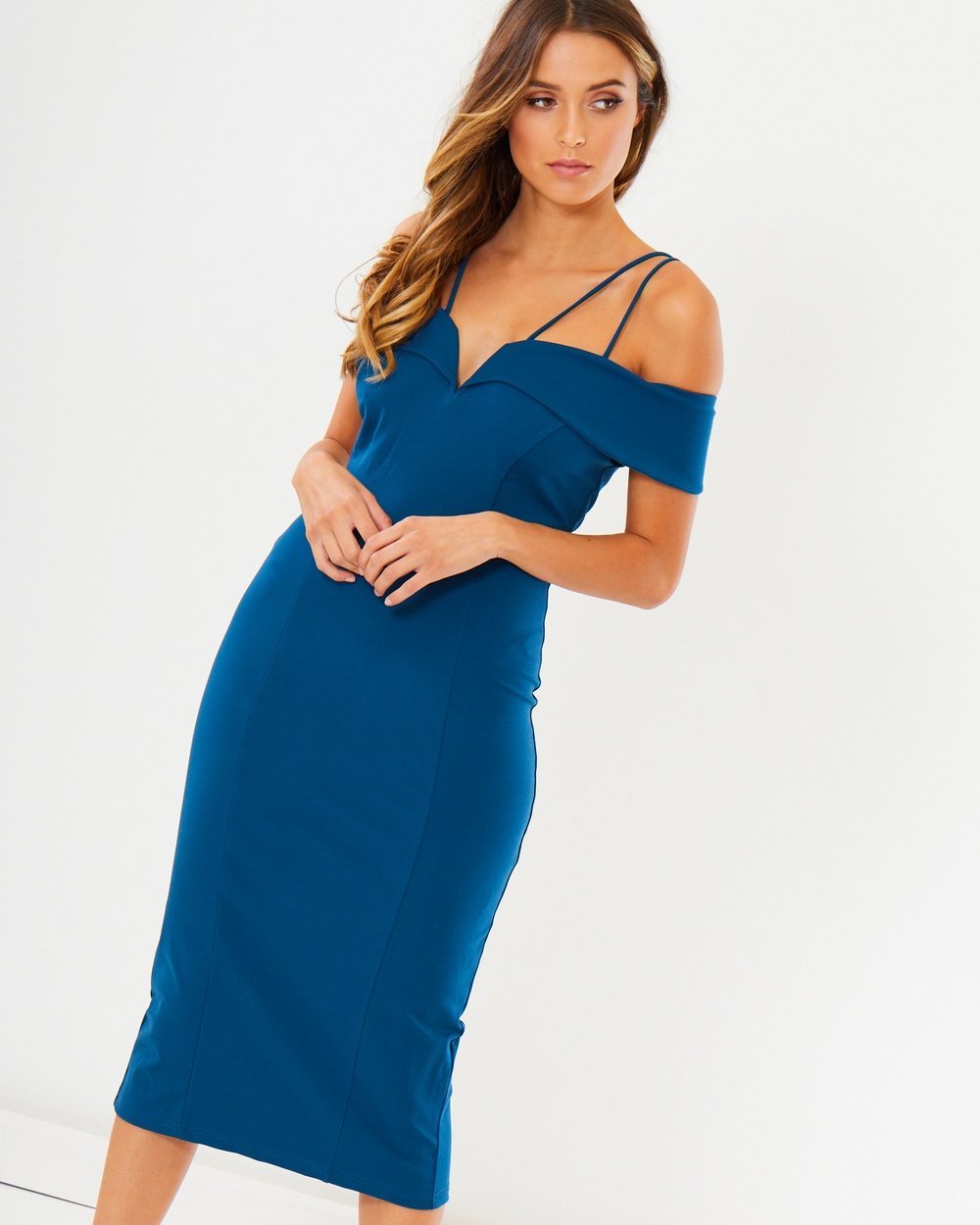 Calli Ada Off Shoulder Dress Bodycon Dresses Blue Ada Off-Shoulder Dress