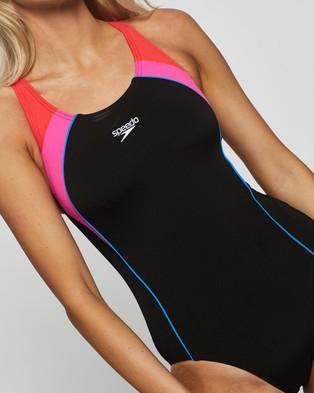 Speedo Image Uplift One Piece - One-Piece / Swimsuit (Black, Neon Pink & Lava Red)
