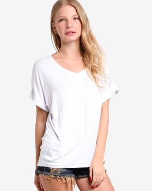 BoyFromBlighty – Drape Fit Rolled Sleeve Top White