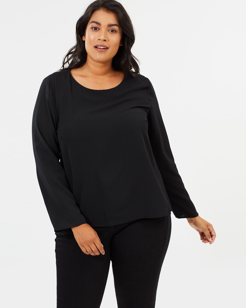 Atmos & Here Curvy ICONIC EXCLUSIVE Beverly Woven Top Tops Black ICONIC EXCLUSIVE Beverly Woven Top