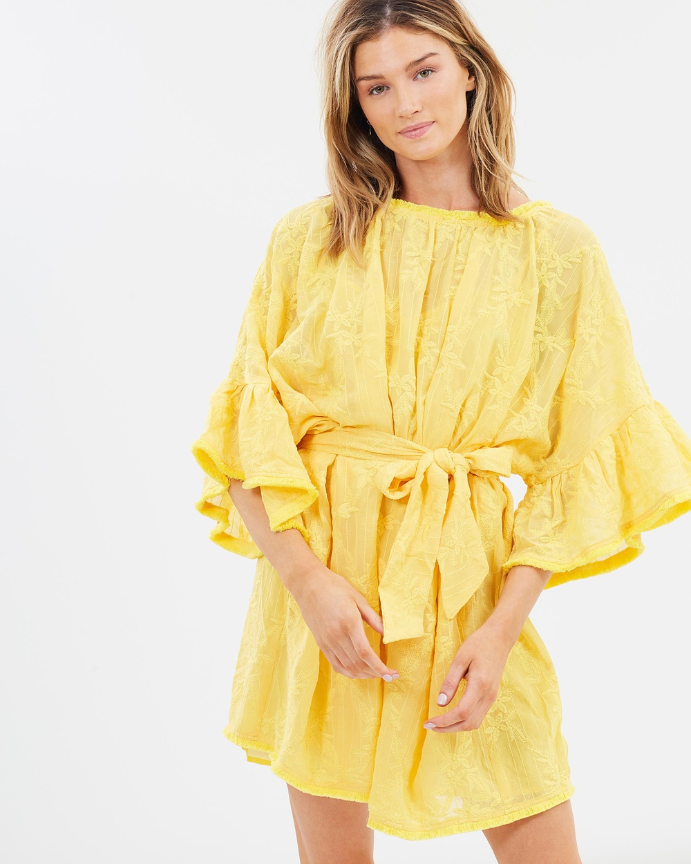 Lost Ink Ruffle Sleeve Embroidered Mini Dress Dresses Yellow Ruffle Sleeve Embroidered Mini Dress