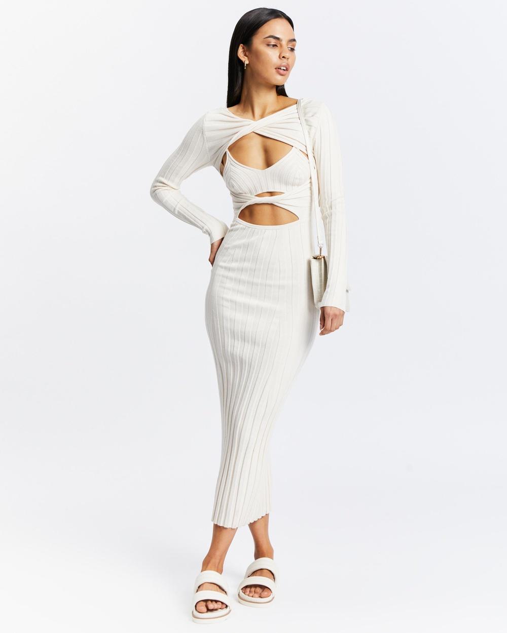 AERE Long Sleeve Knit Dress Bodycon Dresses Birch