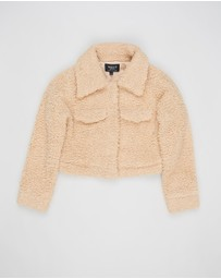 Bardot Junior - Cropped Sherpa Jacket - Teens