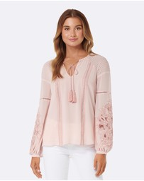 Forever New - Aria Embroidered Cutwork Blouse