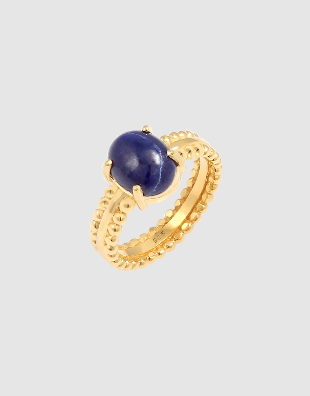 Women Ring with Lapis Lazuli Gemstone in 925 Sterling Silver Gold Plated