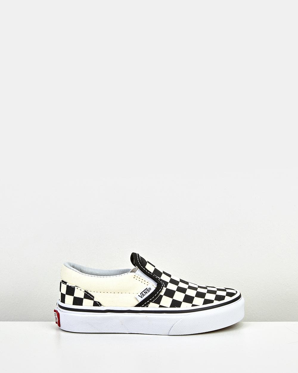 Vans Classic Slip Ons Youth Sneakers Black/White Australia