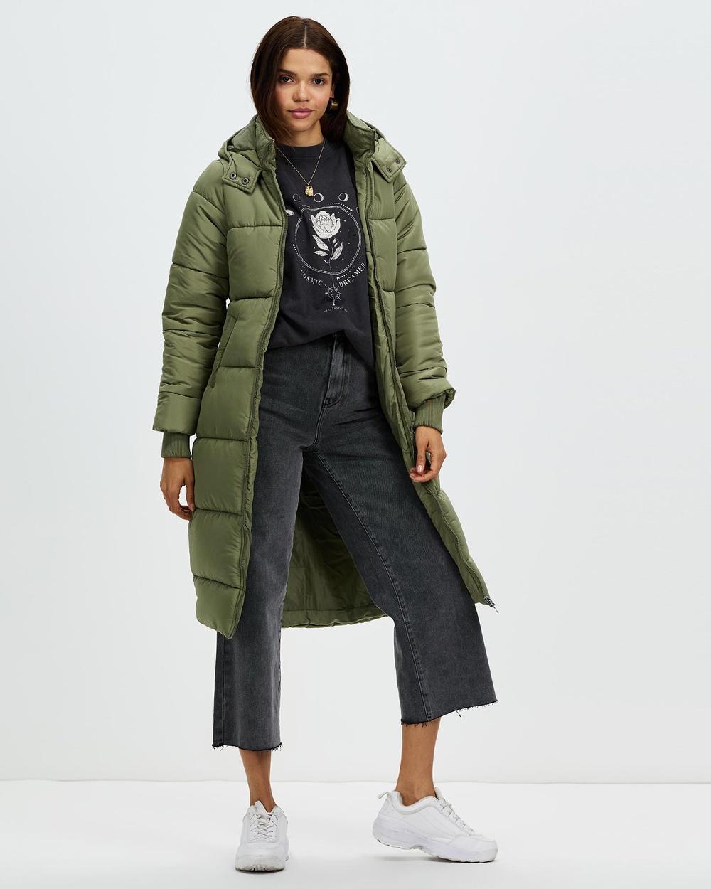 All About Eve Zoe Longline Puffer Coats & Jackets Khaki