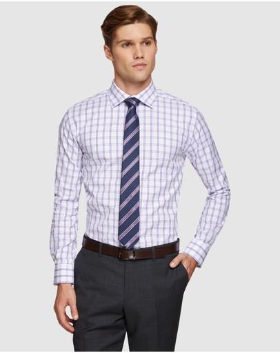 Oxford Islington Checked Luxury Shirt Purple