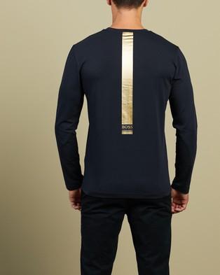 BOSS - Long Sleeve Colour Block Logo T Shirt T-Shirts & Singlets (Dark Blue) Colour-Block T-Shirt