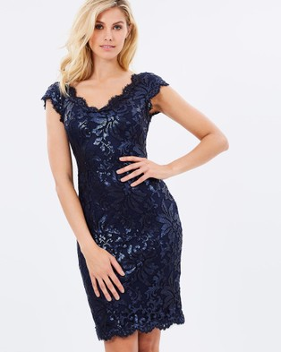 Montique – Valeria Embroided Dress – Bridesmaid Dresses Navy
