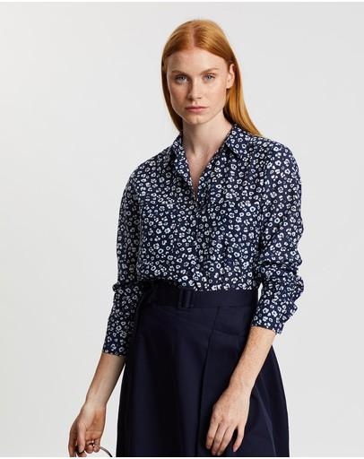 Sportscraft Palmer Silk Cotton Shirt Navymulti