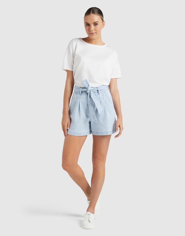 Women Tie Waist Denim Shorts