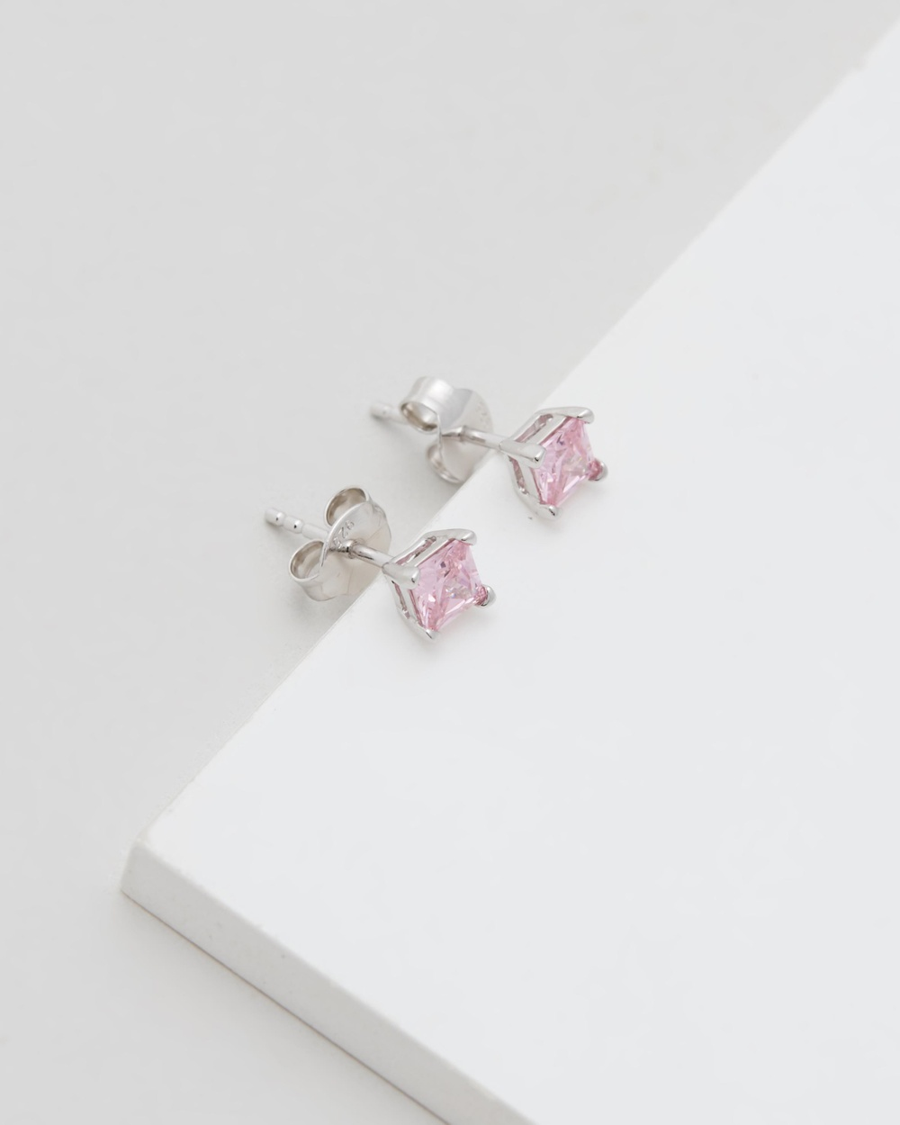 Michael Hill Stud Earrings with Pink Cubic Zirconia Jewellery Sterling Silver