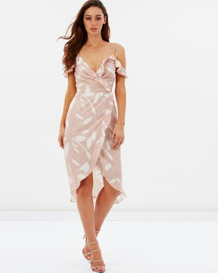 Atmos & Here – Peony Cold Shoulder Ruffle Wrap Dress