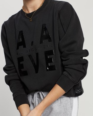 All About Eve AAE Piping Crew Sweater - Tops (WASHED BLACK)
